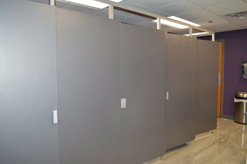 Grey large bathroom partitions