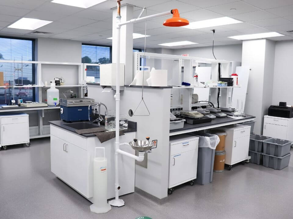 Professional science lab with emergency shower and eyewash station